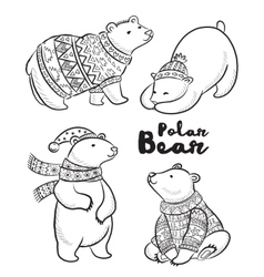 Outline set with polar bears vector