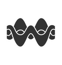 overlapping waves glyph icon silhouette symbol vector image