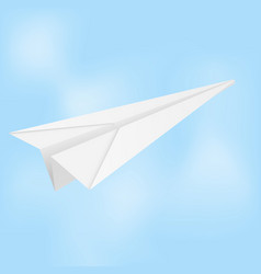 Paper airplane folded glider in blue sky vector