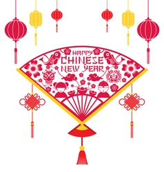 Papercut Fan Chinese New Year vector image vector image