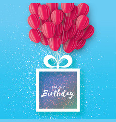 Pink flying paper cut balloons happy birthday vector
