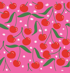 Playful bright cherries repeat pattern vector