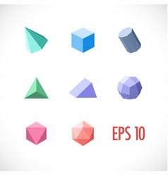 Polygon 3d objects set icons vector