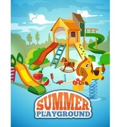 Poster children playground vector