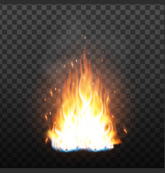 realistic campfire flame with sparks effect vector image