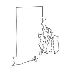 Rhode island ri state border usa map outline vector