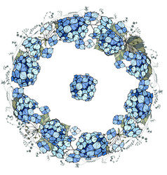 Round floral garland with hydrangea flowers vector