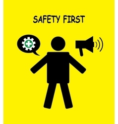 safety first icon symbol human with yellow vector image