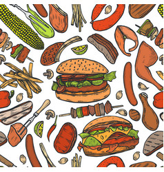 seamless pattern barbecue grill vector image