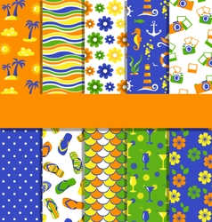 set 10 seamless bright summer patterns vector image