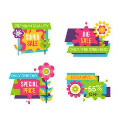 Set colorful labels springtime flowers adverts vector