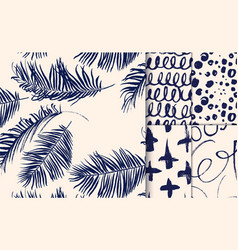 set of blue patterns drawn with dry brush vector image