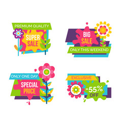 Set of colorful labels springtime flowers adverts vector