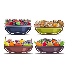 set of dishes with fruits vector image