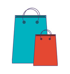 shopping bags symbol blue lines vector image