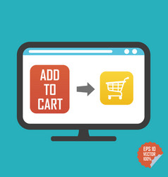 Shopping cart on screen and add to cart button vector