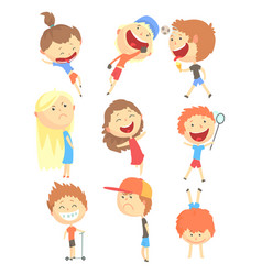 small kids playing and running having fun on vector image