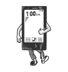 smart phone walk sketch engraving vector image