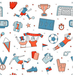 Soccer football player game match fans outline vector