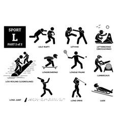 Sport games alphabet l icons pictograph lelo burti vector