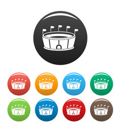 sport round stadium icons set color vector image