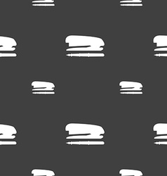 Stapler and pen icon sign Seamless pattern on a vector