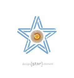 star with Argentina flag colors symbols and grunge vector image