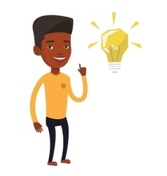 Student pointing at light bulb vector