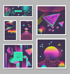 Synth wave poster templates set futuristic vector