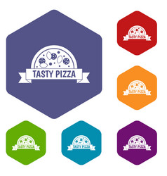 Tasty pizza sign icons set hexagon vector
