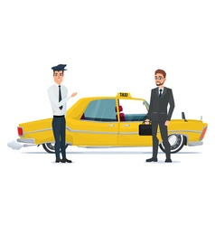 Taxi driver invites business people businessman go vector