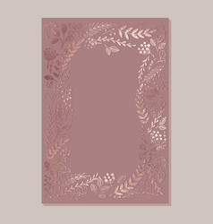 Template for design invitations rose gold vector
