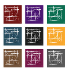 tic-tac-toe icon in black style isolated on white vector image