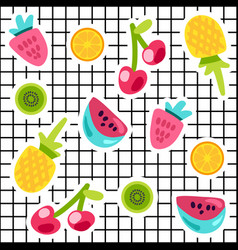 tropical fruits doodle color stickers set vector image