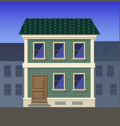 two-storey brick house in a classical style vector image