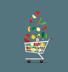 vegetables in shopping cart flat style vector image