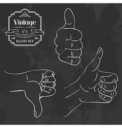Vintage chalkboard hand set vector image
