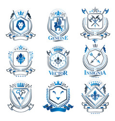 Vintage heraldry design templates emblems created vector