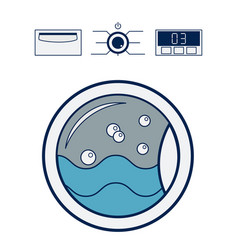 washing machine icon laundry room concept flat vector image