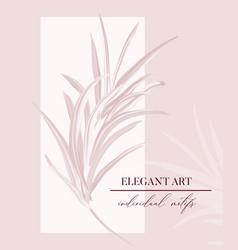 wedding rose palm tender soft invitation floral vector image