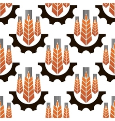 Wheat ears in gear wheels seamless pattern vector