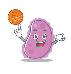 With basketball bacteria character cartoon style vector