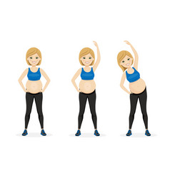 Young pregnancy woman fitness healthy lifestyle vector