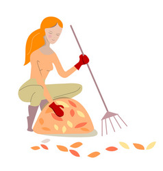 Young woman rakes yellow autumn leaves isolated vector