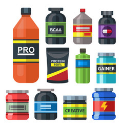 bodybuilders gym athlete sport food diet symbols vector image
