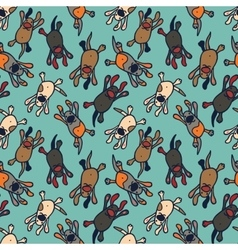 Bright seamless pattern with cute cartoon dogs vector image