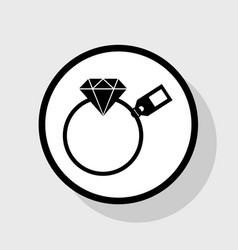 Diamond sign with tag flat black icon in vector