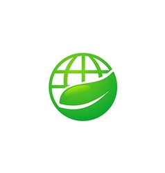 earth globe ecology leaf nature logo vector image vector image