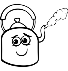 kettle and steam coloring page vector image