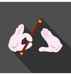 Magician hands with stick icon vector image vector image